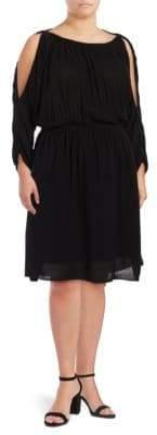 Rachel Roy Plus Cold-Shoulder Blouson Dress