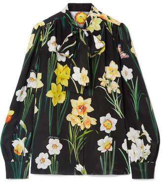 Dolce & Gabbana Pussy-bow Floral-print Silk Crepe De Chine Blouse - Black