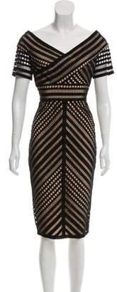 Lela Rose Short Sleeve Midi Dress