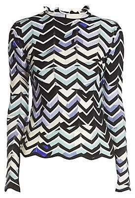 Emilio Pucci Women's Zigzag-Print Mockneck Sweater