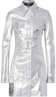 Calvin Klein Metallic Textured-leather Mini Dress - Silver