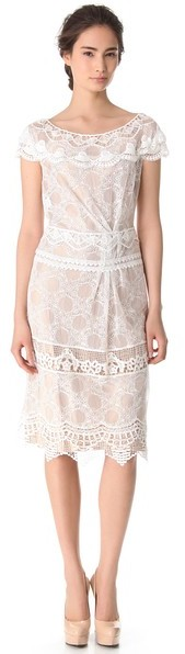Alberta Ferretti Collection Cap Sleeve Lace Dress