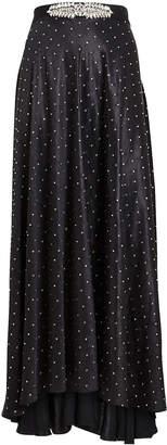 Paco Rabanne Crystal-Studded Satin Skirt