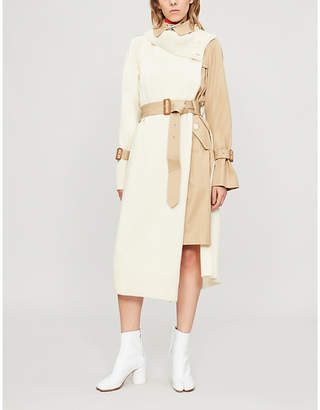 Sacai Asymmetric wool and cotton coat