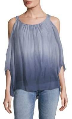 Le Marais Ombre Cold-Shoulder Silk Blouse