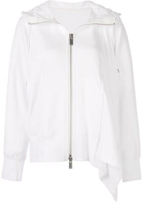 Sacai zip front asymmetric hem hoodie