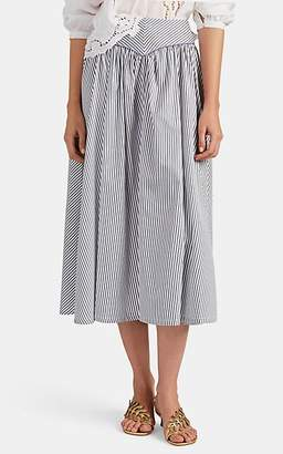 Thierry Colson Women's Trish Striped Cotton-Silk Midi-Skirt - Charcoal