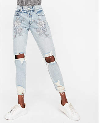Express high waisted floral embroidery distressed skinny ankle jeans