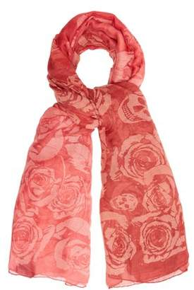 Alexander McQueen Rose And Skull Print Semi Sheer Scarf - Womens - Pink