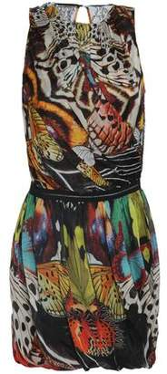 Roberto Cavalli Wrap-Effect Printed Silk-Chiffon Mini Dress