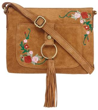 Mantaray Tan Suede Tassel Cross Body Bag