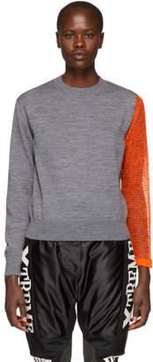 Facetasm Grey Contrast Sleeve Sweater