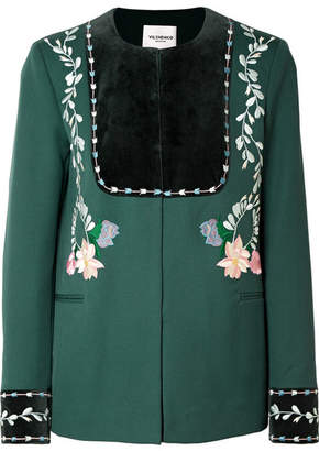 Vilshenko Rosie Velvet-paneled Embroidered Wool-twill Jacket - Emerald