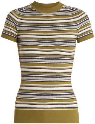 JOOSTRICOT Crew-neck striped short-sleeved knit sweater