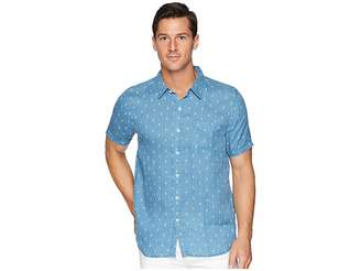 True Grit Avalon Anchors Lux Linen Shirt Men's Short Sleeve Button Up