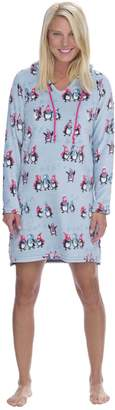 Munki Munki Women's Blue Penguins Hood Nightshirt
