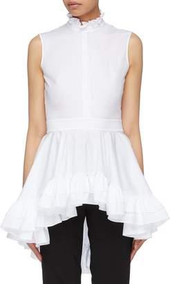 Alexander McQueen Asymmetric ruffle peplum sleeveless shirt