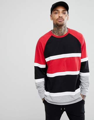 Asos DESIGN longline oversized long sleeve t-shirt with bright color block