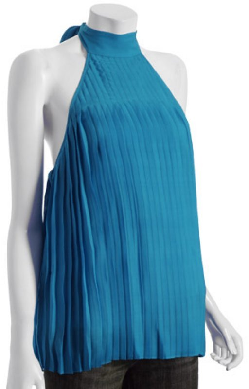 Alice & Olivia turquoise accordion pleated silk halter top