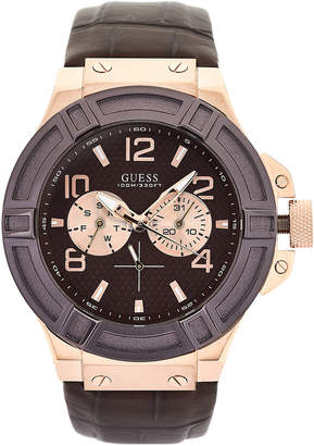 GUESS W0040G3 Rose Gold-Tone & Brown Watch