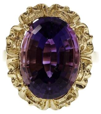 18K Yellow Gold Purple Amethyst Ring Size 6.5