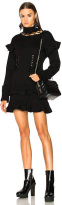 Alexander McQueen Lace Up Chunky Knit Mini Dress