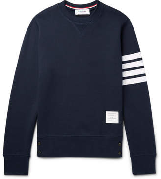 Thom Browne Striped Loopback Cotton-Jersey Sweatshirt - Men - Navy