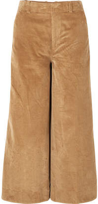 Elizabeth and James Oakley Cropped Cotton-corduroy Wide-leg Pants - Camel