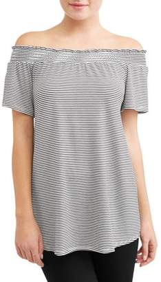 Attitude Unknown Women's Smocked Off the Shoulder Tunic T-Shirt