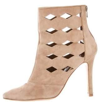 Manolo Blahnik Suede Laser Cut Ankle Boots