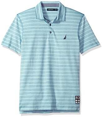 Nautica Men's Classic Fit Short Sleeve Reverse Stripe Print Polo Shirt