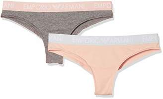 Emporio Armani Women's Iconic Logoband 2-Pack Brazilian Brief