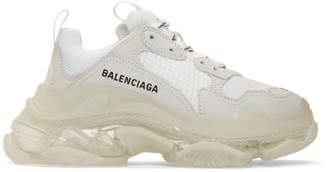 Balenciaga White Triple S Clear Sole Sneakers