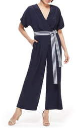 Maggy London Marina Tie Belt Short Sleeve Jumpsuit