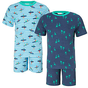 Children's Surfer Shortie Pyjamas, Pack of 2, Blue
