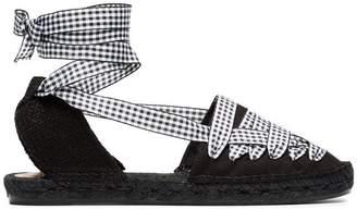 Castaner Black Jean Flat gingham beribboned espadrilles
