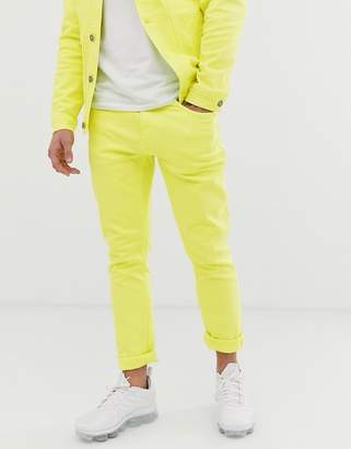 Pull&Bear two-piece slim fit jeans in neon