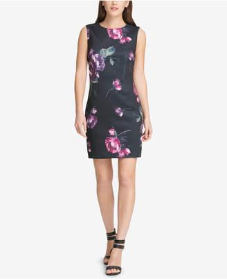 DKNY Floral-Print Scuba Sheath Dress
