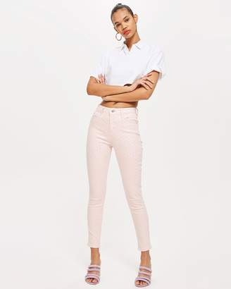 Topshop MOTO Pink Diamante Jamie Jeans