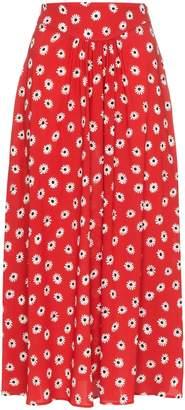 Miu Miu flower print high waisted skirt