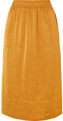Theory Crinkled-satin Midi Skirt - Yellow