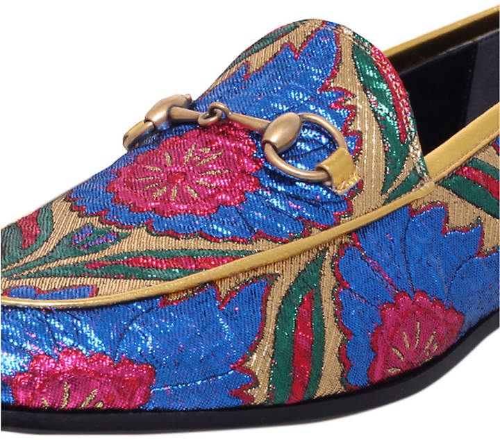 0c4f982f9cb Gucci New Jordaan embroidered jacquard loafers detail image