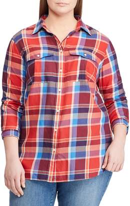 Lauren Ralph Lauren Plus Plaid Cotton Button-Down Shirt