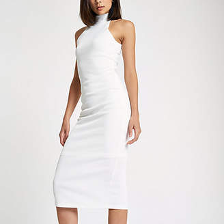 River Island White halter neck cutaway midi bodycon dress