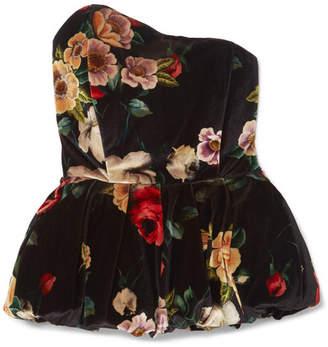 ATTICO Asymmetric Floral-print Velvet Peplum Top - Black