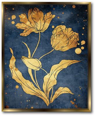 Courtside Market Wall Decor Floral Golden Blues Gallery Framed Stretched Canvas Wall Art