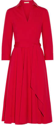 Michael Kors Stretch-cotton Poplin Wrap Dress - Crimson