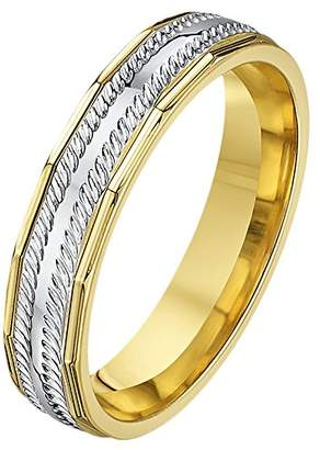 Theia His & Hers 14ct Yellow and White Gold Two-Tone 4mm Faceted and Cuts Wedding Ring - Size Q
