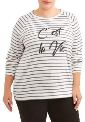 """Angels Women's Plus Size Vintage """"C'est La Vie"""" Sweatshirt"""