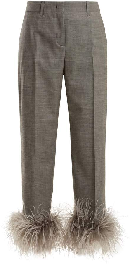 PRADA Feather-trimmed wool-blend trousers